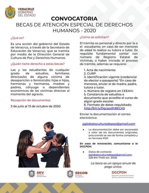 Imagen de la convocatoria de becas de derechos humanos 2020, emitida por el Gobierno del Estado