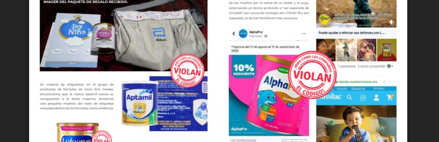 """Parte del informe de organización que señala que las empresas violan el código al dar publicidad a la leche de fórmula . Publicidad con el señalamiento de """"violan el Código"""""""