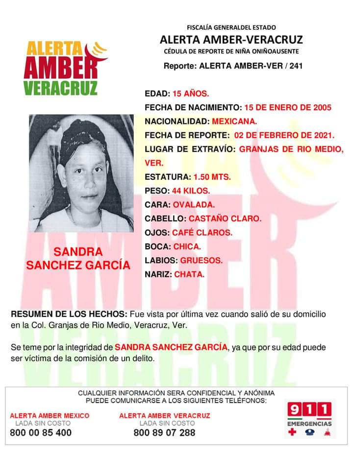 Imagen de la Alerta Ámbar decretada por la desaparición de Sandra de 15 años en Veracruz