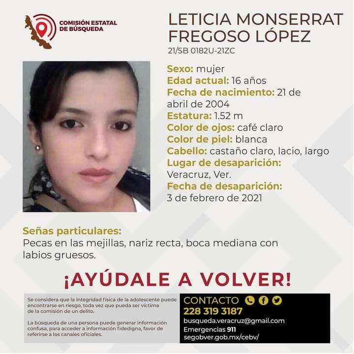 Ficha de la búsqueda de Leticia Monserrat Fregoso López de 16 años